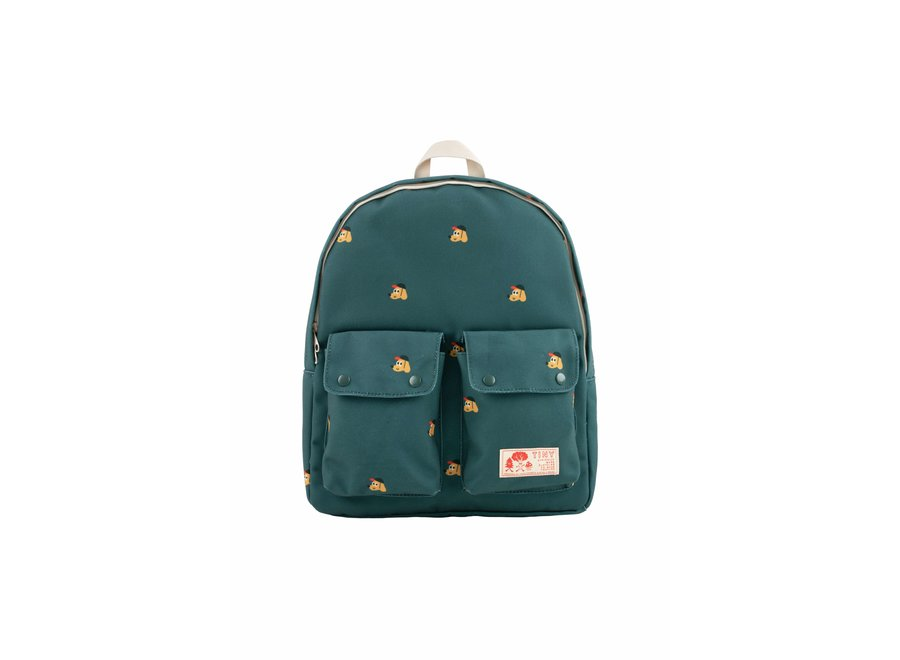 Dogs backpack stormy blue (green)/honey