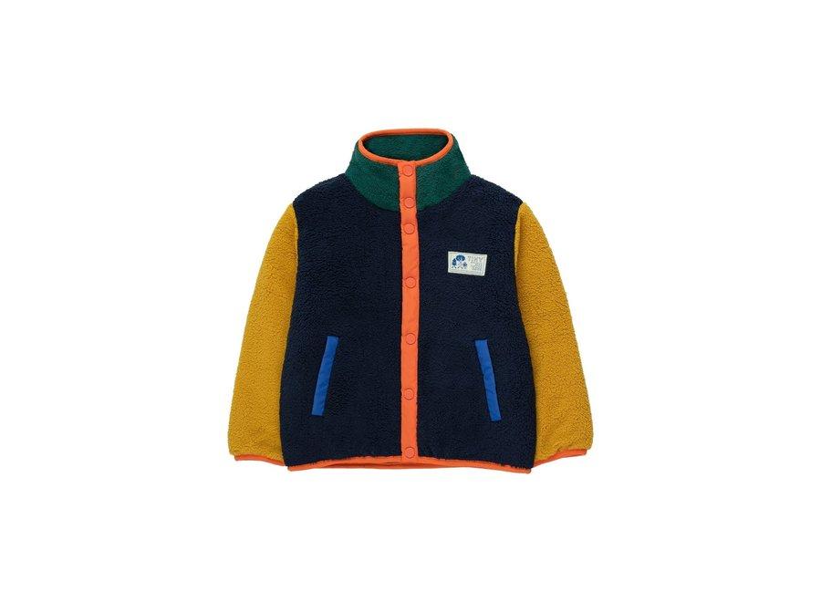 Color block polar jacket deep blue/honey