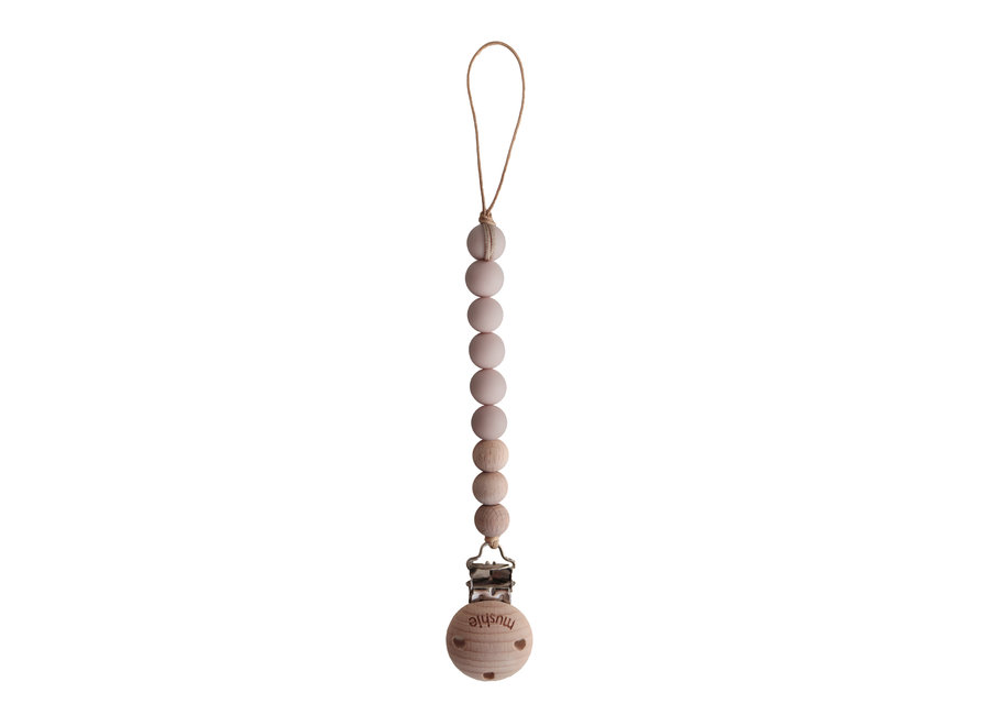 Mushie pacifier clip Cleo Blush/Wood