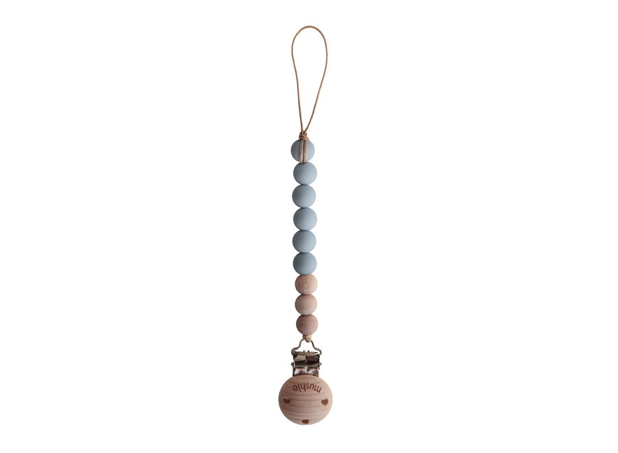 Mushie pacifier clip Cleo Cloud/Wood