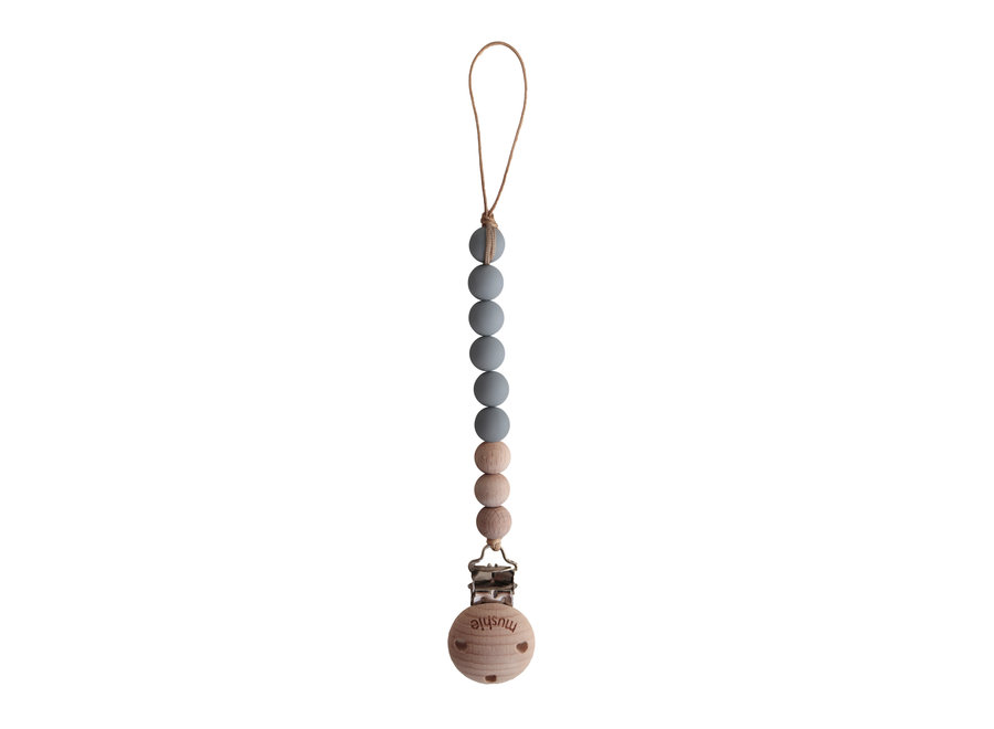 Mushie pacifier clip Cleo Stone/Wood