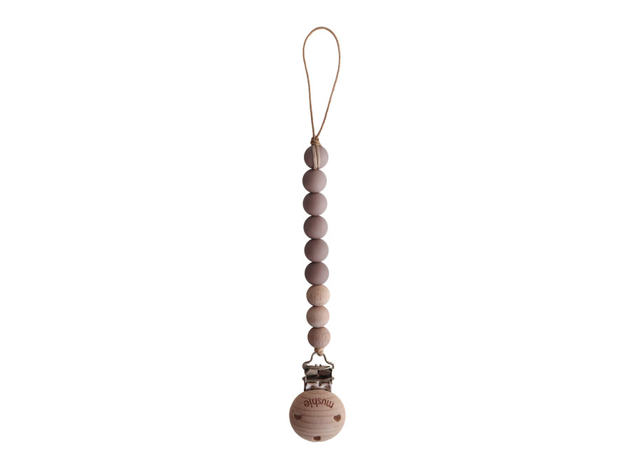 Mushie pacifier clip Cloudy Mauve/Wood