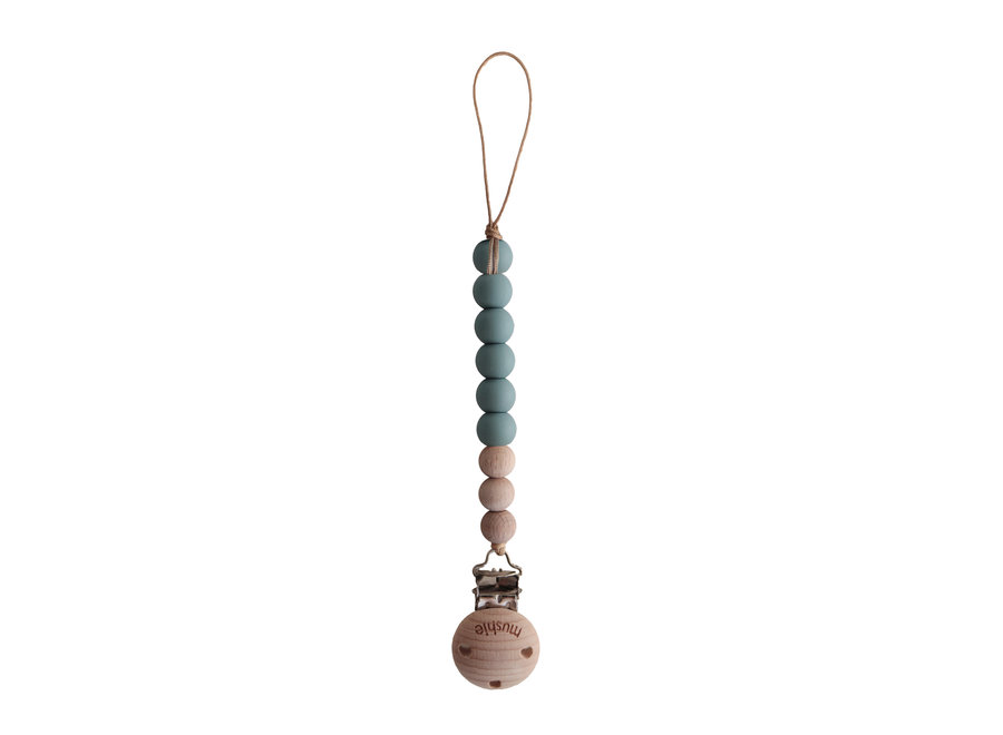 Mushie pacifier clip Cleo Cadet Blue/Wood