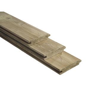 Naaldhout, Celfix (verduurzaamd) blokhutprofiel, geschaafd met vellingkant