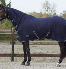 QHP QHP Basic fleecedeken met hals blauw