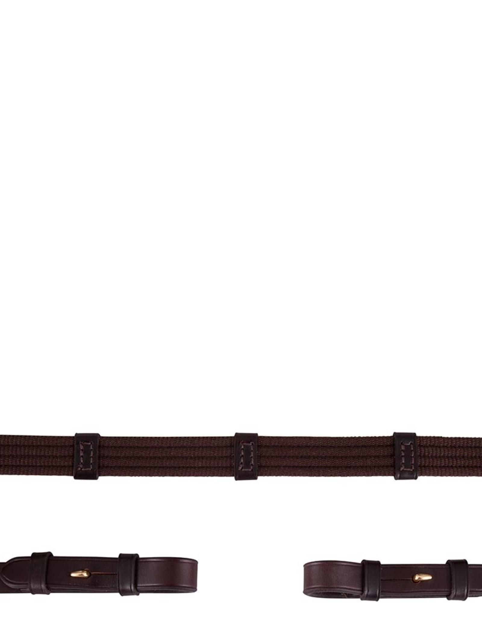 BR BR Teugel linnen 19mm ronde gespen bruin/goud