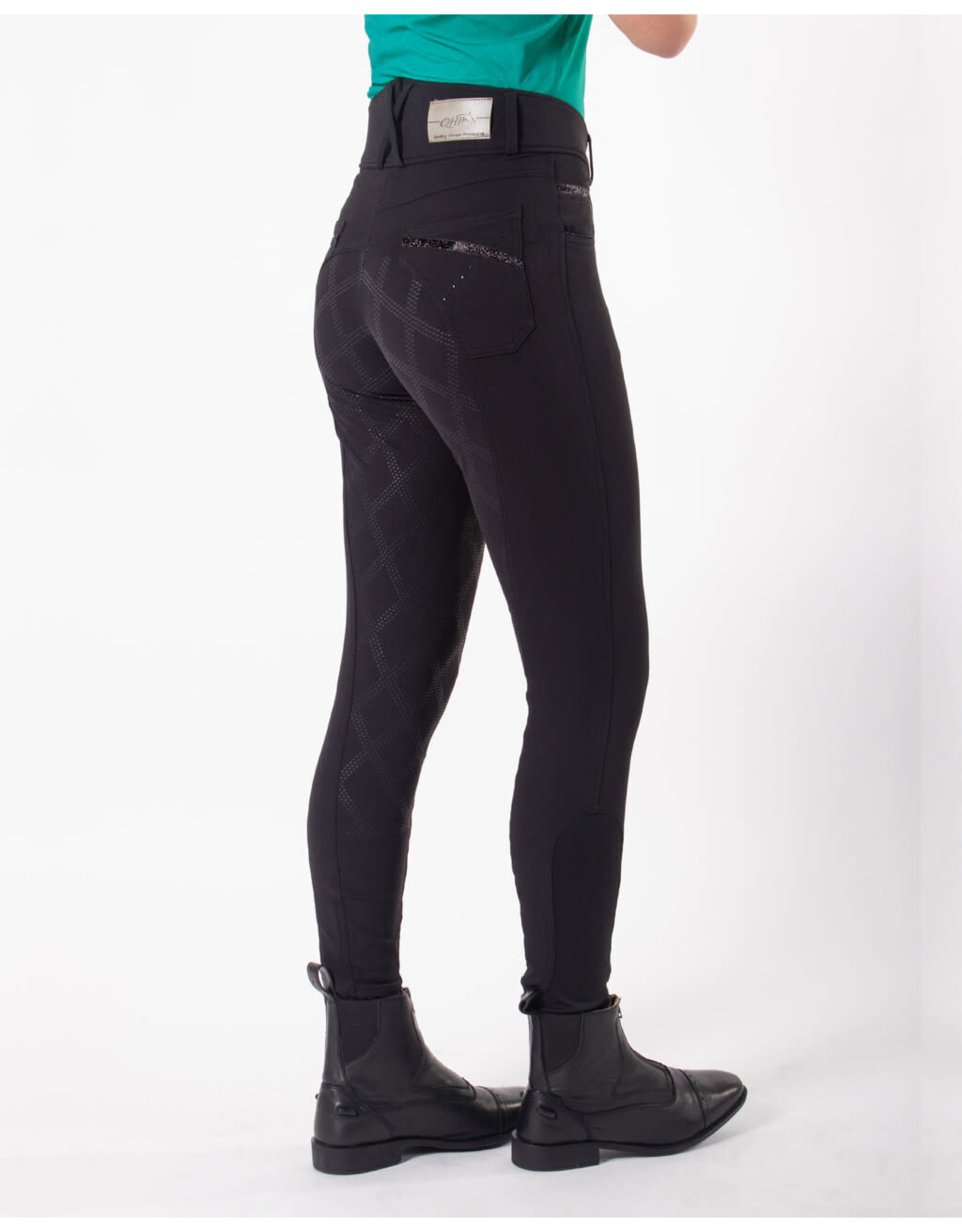 QHP QHP Rijbroek Liva anti-slip zitvlak Zwart