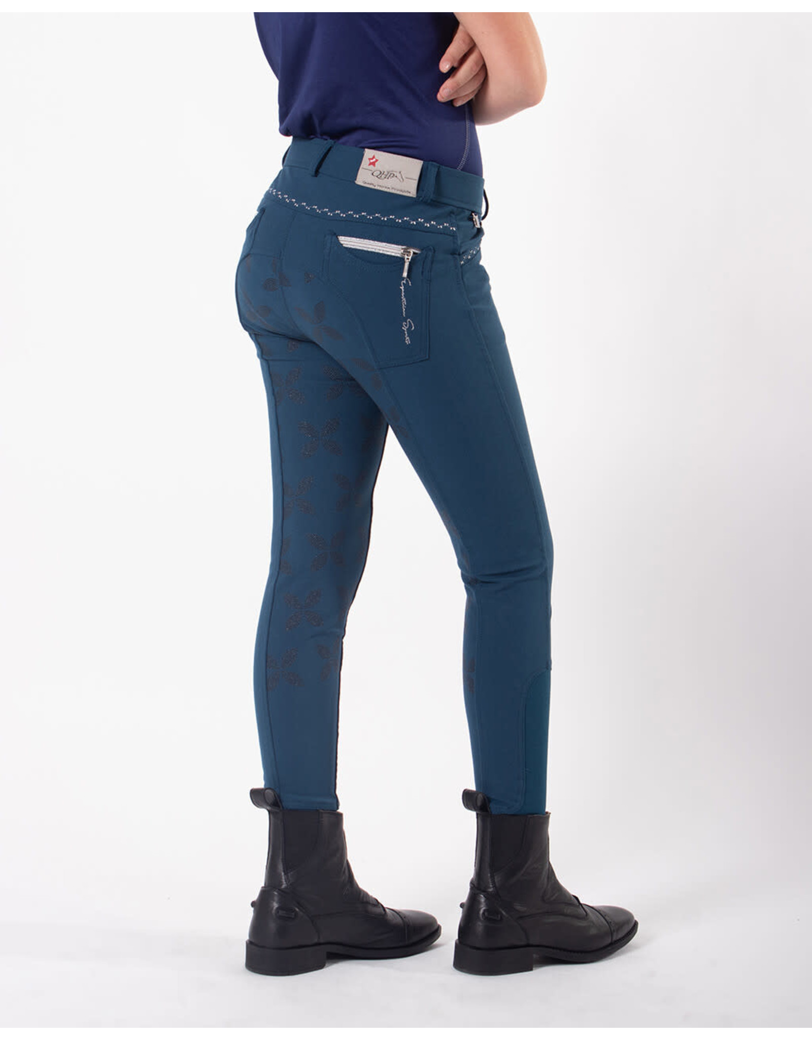 QHP QHP Rijbroek Lauren Junior anti-slip zitvlak Petrol
