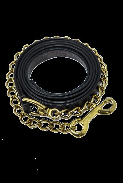 "Leather Heavyweight Chain Lead Rein Havana 24"" Brass Chain"