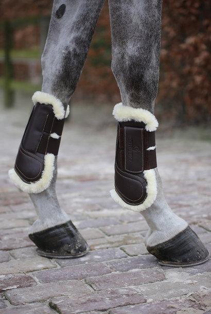 Hook & Loop Sheepskin Leather Tendon Boots