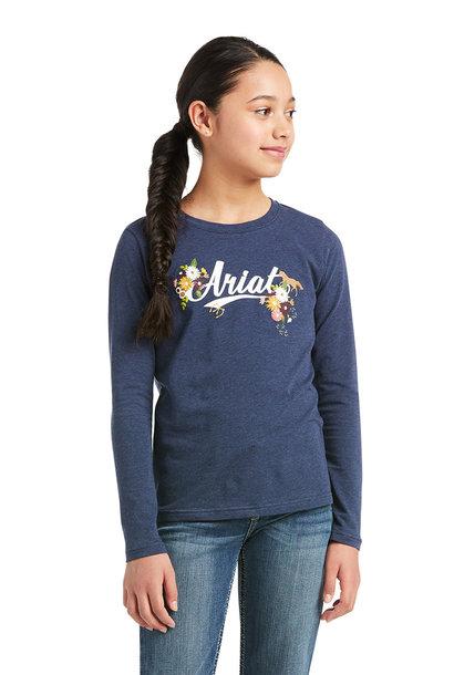 Girl's Flora Fauna Logo Long Sleeve T-Shirt
