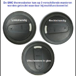 ®SMC Products SUPERSTERKE RVS DUBBELWANDIGE THERMOSBEKER DE REISTOPPER VOOR ONDERWEG MET EEN INHOUD VAN 420 ML. Geschikt voor Koffie, Thee en alle koude dranken. - DD-13558