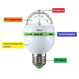 ®SMC Products Discolamp met E27 fitting, 30 roterende kleuren 3 Watt LED. - DD-745309