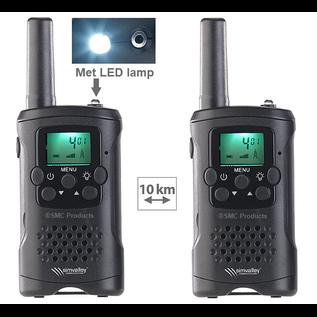 ®SMC Products Walkie Talkie / Portofoon, set van 2 PMR-radio's met VOX, bereik tot 10 km incl. LED-zaklamp.