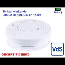 ®SMC Products Rookmelder, Optisch en Foto-elektrisch |  met 10 jaar volledige garantie, VDS, DIN EN 14604 gecertificeerd.