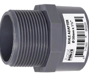 Aquaforte PVC druk Puntstuk met buitendraad 32 mm x 1″ Econo Line 10 ATO