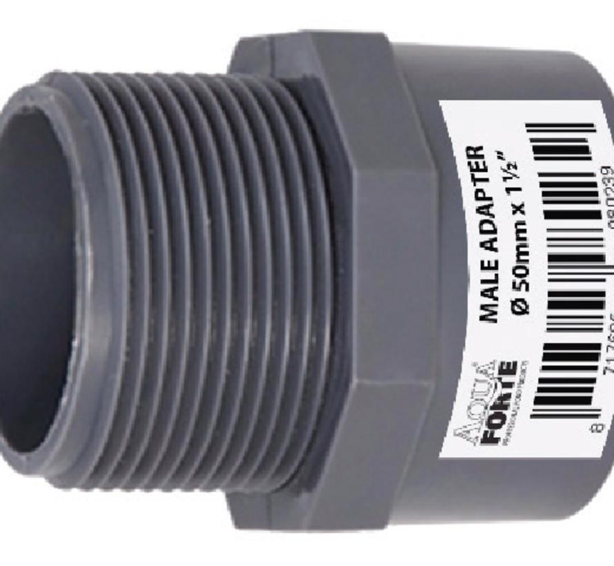 PVC druk Puntstuk met buitendraad 32 mm x 1″ Econo Line 10 ATO