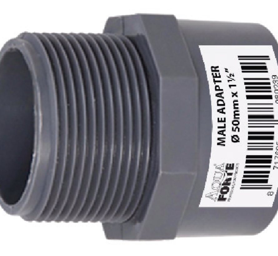 """PVC druk Puntstuk met buitendraad 50 mm x 1½"""" Econo Line 10 ATO"""