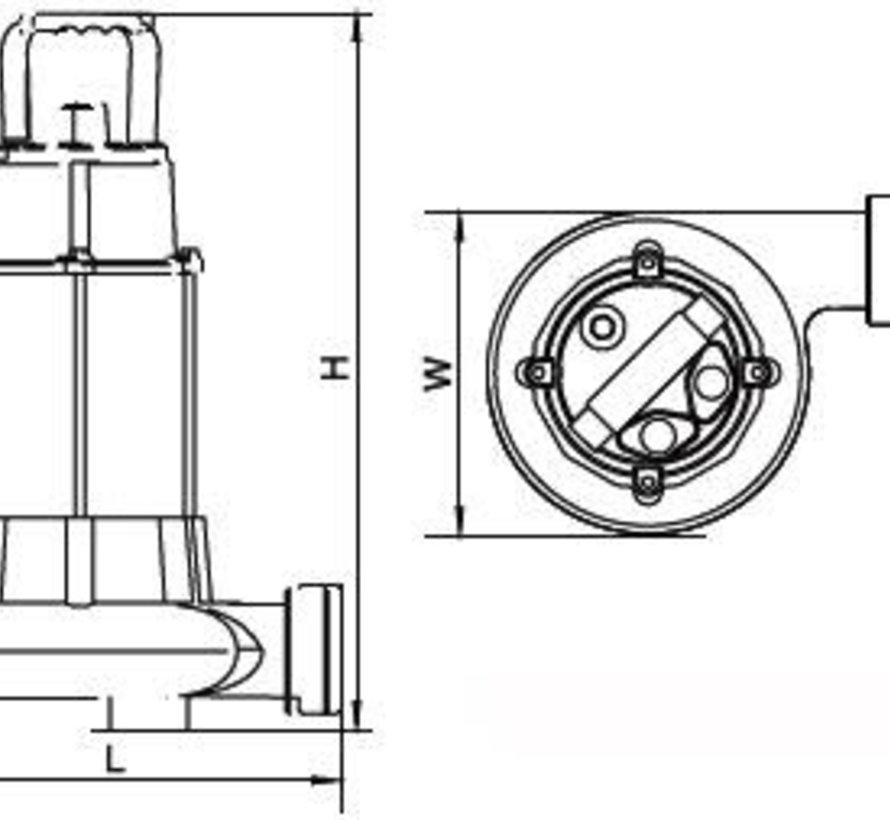 Aquaforte versnijdende dompelpomp met vlotter AF1300