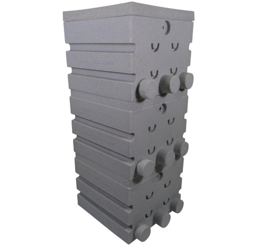 SuperShower 3-traps incl. 150 liter Superbio Marmer wit