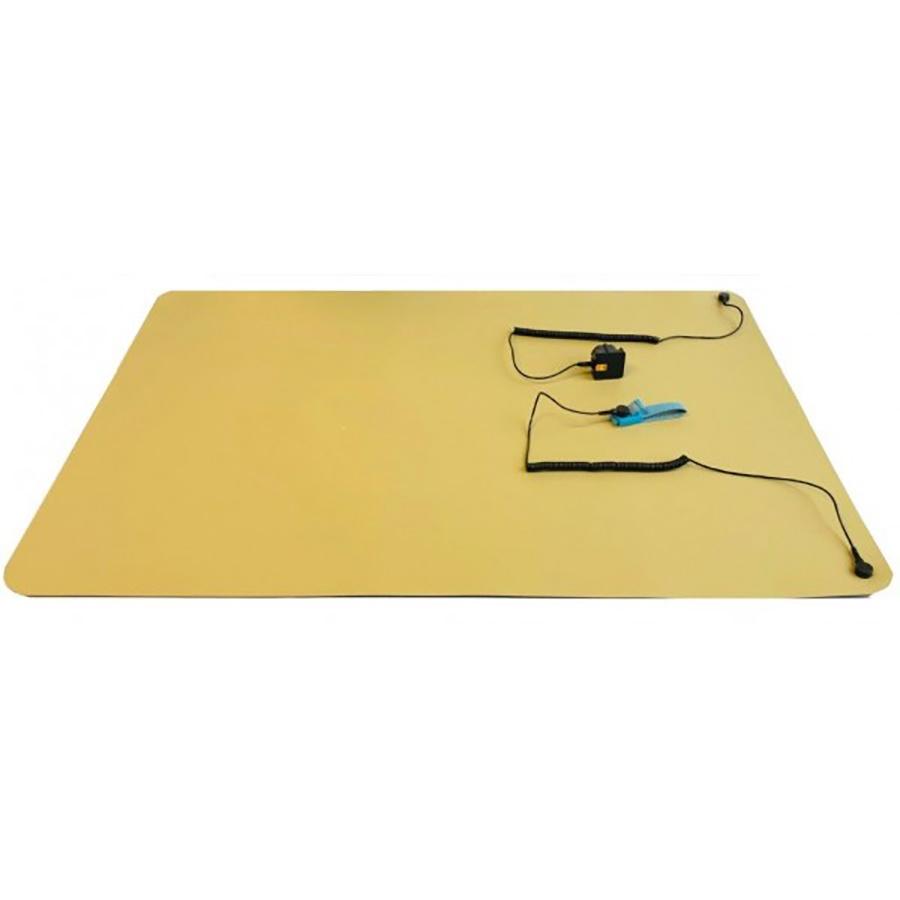 ESD-veilige werkplekset / Mat beige 61X90 cm / Polsband stof