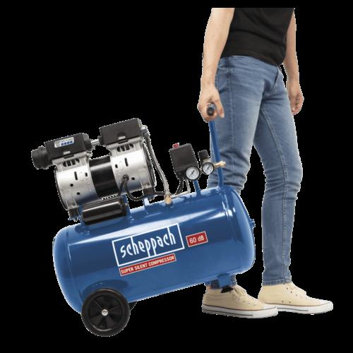 Scheppach stille Compressor HC50Si - Olievrij | 740W | 230V | 50L | 8bar | 60dB