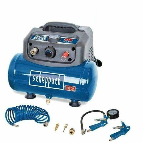 Scheppach Compressor HC06 inclusief toebehoren - Olievrij | 1200W | 6L