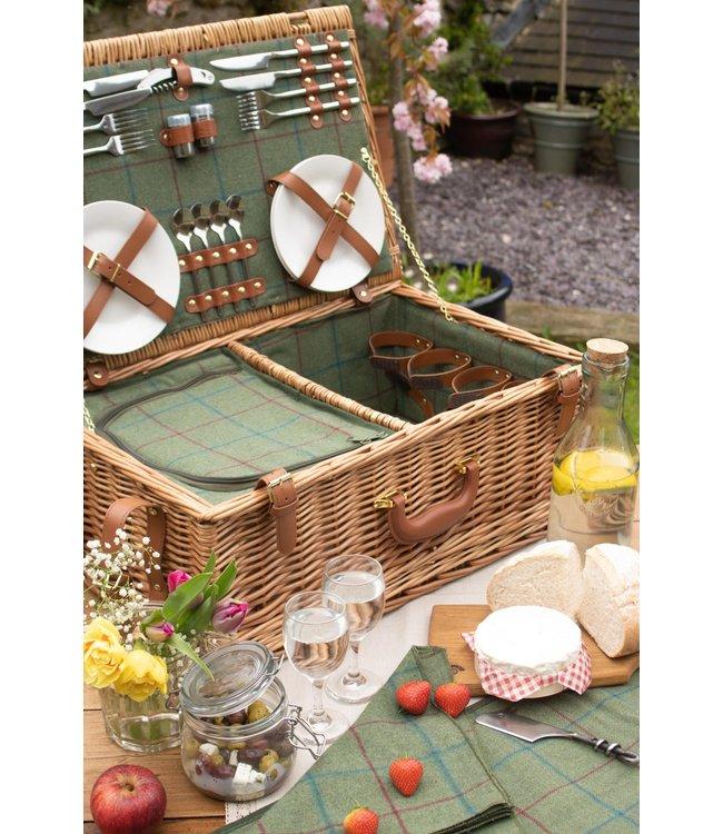 Picknickmand 4 personen Apple Pie - Luxe en Compleet -  Ideaal met Koelvak en Servies - Groen/Bruin - 40 x 30 x 90 cm