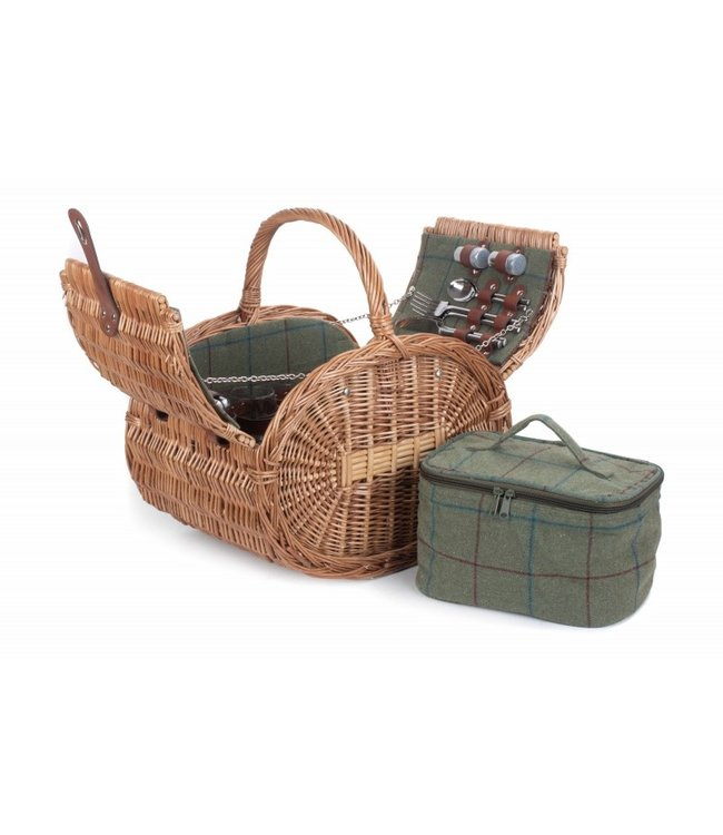Womens Favorites Picknickmand rond 4 personen  Apple Pie -  Met Koeltas en Servies - Ovaal picknick mand - Bruiloft of Vaderdag Cadeau - Groen - 46 x 35 x 30