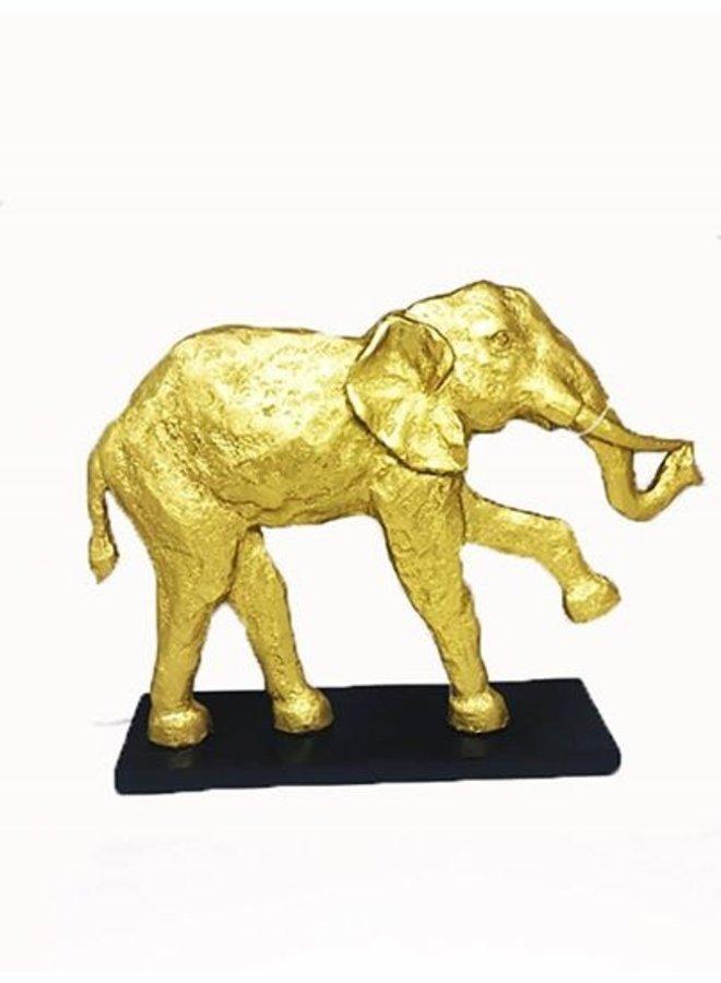 Gouden olifant beeld Polistone