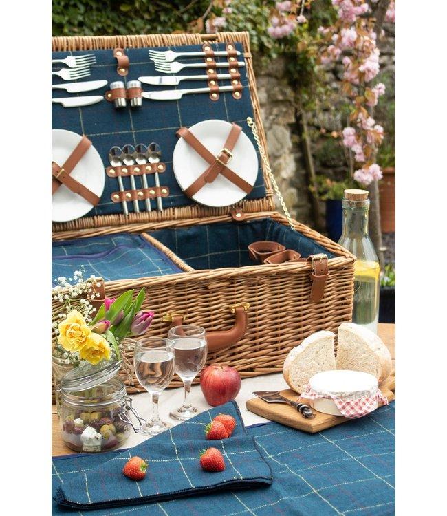 Picknickmand Blue Lagoon  4  personen - Cadeau voor Mannen/Vrouwen - Ideaal Vaderdag/Moederdag  Geschenk -
