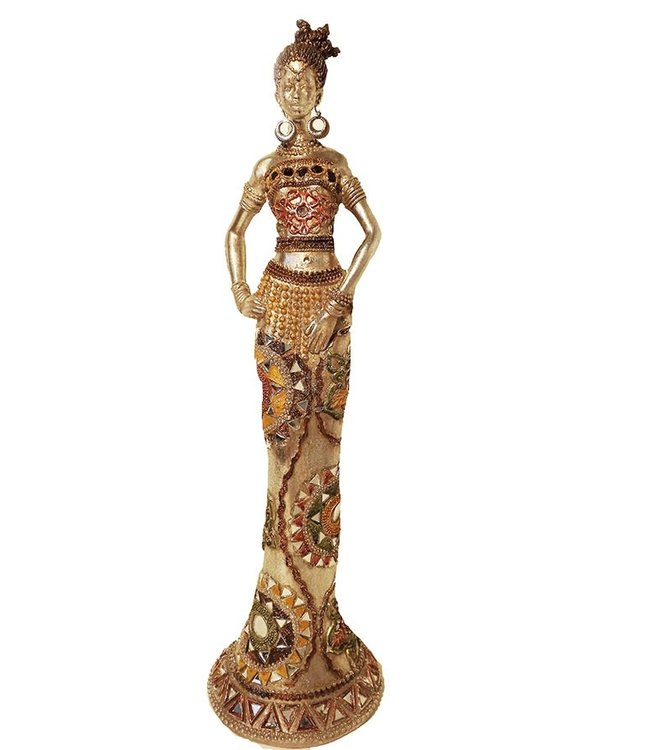Afrikaans beeld vrouw Silver oiled (42cm)