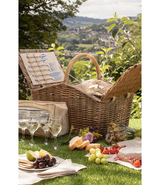 Picknickmand 4 personen  'Bed and Breakfast' - Authentiek en Stijlvol  met Koelvak en Servies - 46 x 32 x 28cm