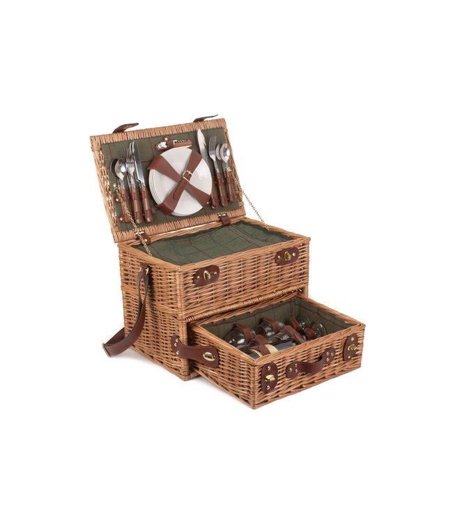 Picknickmand  4 personen Groene Madelief - Prachtig & Elegant  - Ideaal voor Picknick met Wijn -  Inclusief Wijnglazen en Koelvak - Een Schoudertas Koffer - 42cm