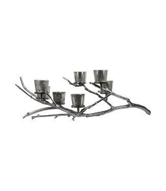 Noorse Esdoorn  zilveren takken kandelaar | 4 kaarsenhouder