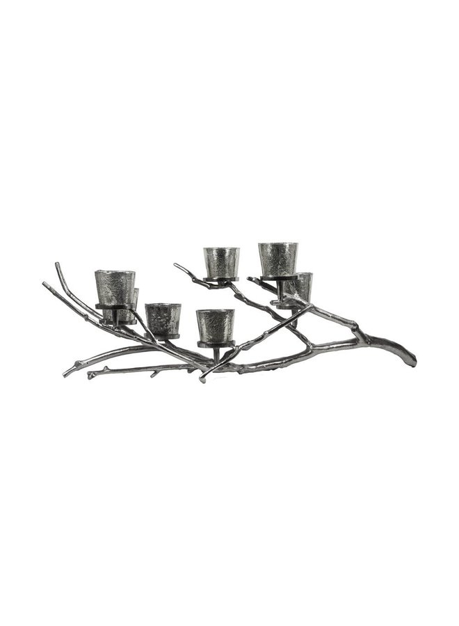 Noorse esdoorn   zilveren kandelaar   3 kaarsenhouder