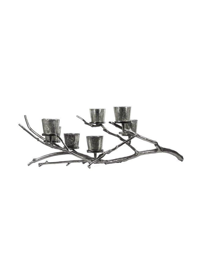 Zilveren Noorse Esdoorn    zilvere kandelaar   3 kaarsenhouder