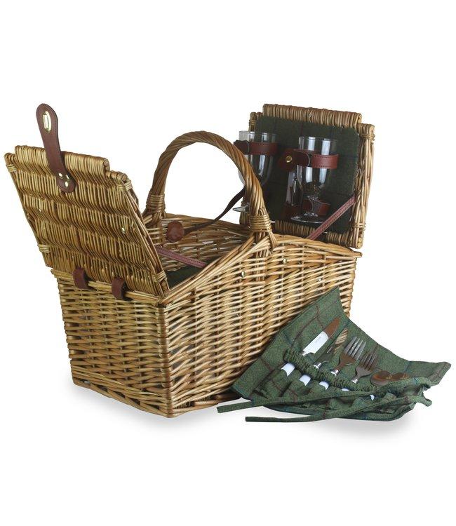 WomensFavorites Picknickmand 2 personen Groene Rieten Dekselpan - Luxe Wilg/Rotan mand met Champagne glazen - Kunstleer Gespen - Leuk Cadeau voor Man/Vrouw - Picknickmanden in Groen - 400 x 29 x 220mm