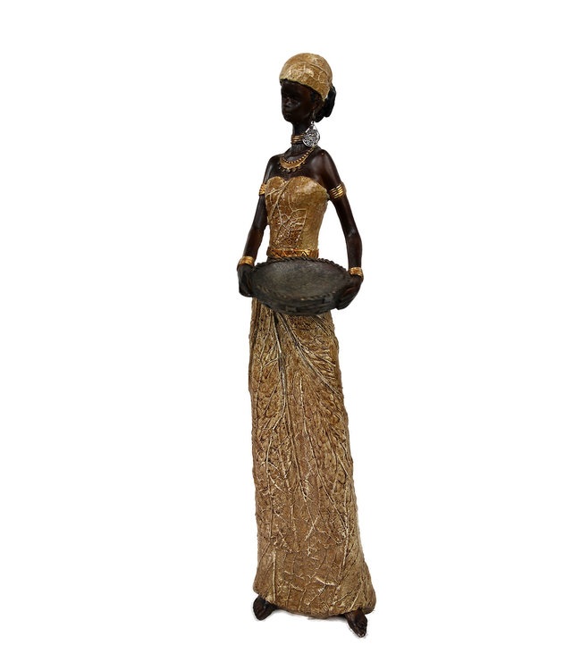 Afrikaanse vrouw beeld - Dame met schaal