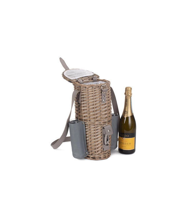 Rieten schoudertas Royale Champagne