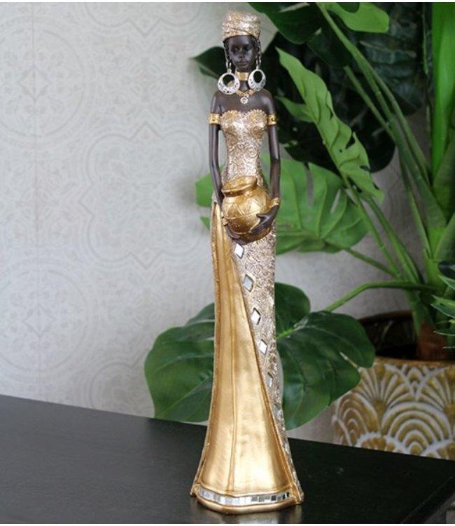 Afrikaanse vrouw beeld goud bowl staand met vaas - Topkwaliteit Afrikaanse beeldjes