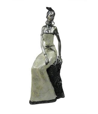 Afrikaanse vrouw beeld Safran Zilver
