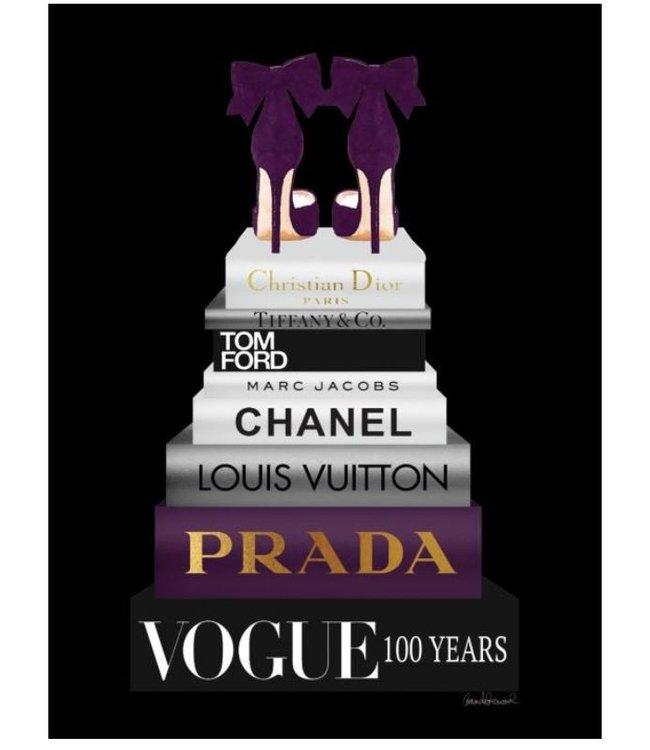 Glas schilderij  Vogue Mode boeken100 jaar Plexiglas en Goudfolie- Prachtig & Stijlvol Glas Schilderij - Geschikt Vrouwen/Meiden/Mannen - Meidenkamer - Vriendin/Tante/Kleindochter of Dochter Cadeau - Afstudeer Cadeau of voor Tiener Meisjes 12,14 jaar