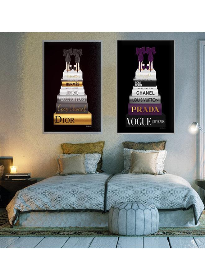 Glasschilderij (zwart) van goudfolie Vogue 100 jaar Ter Halle