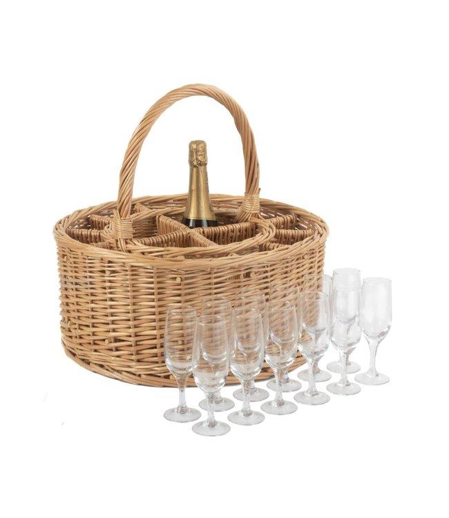 Womens Favorites Rieten mand voor wijnflessen Champagne party