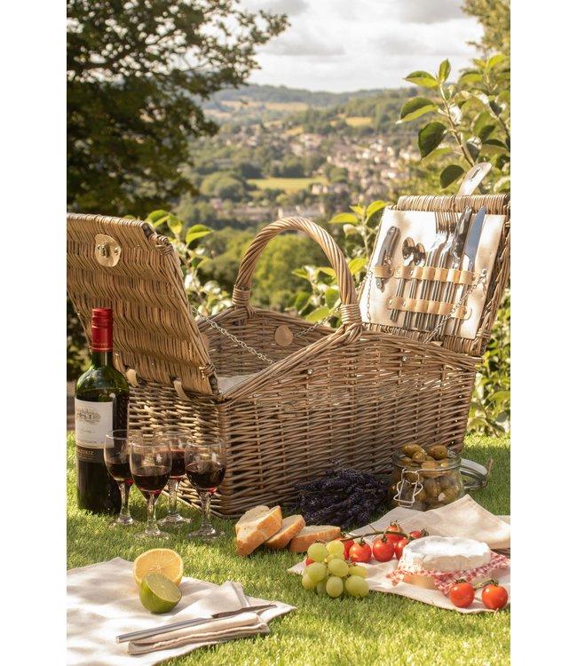 Picknickmand 4 personen  'Bed and Breakfast' - Authentiek en Stijlvol  met Koelvak en Servies -  Met Rieten Handvat -46 x 32 x 28cm