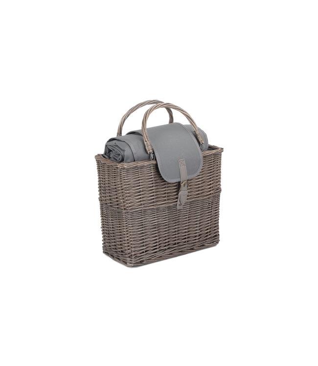 Evergrey Picknick Koelbox - Koelmand van Riet - Compact met Waterdichte Picknickkleed -40 x 19 x 34 cm