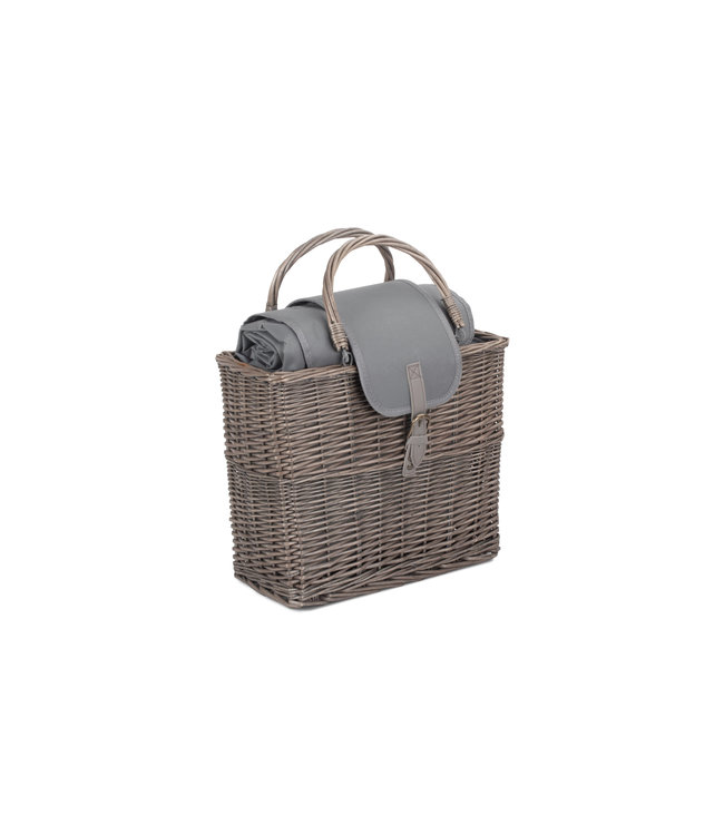 Grijze koelmand met picknickdeken