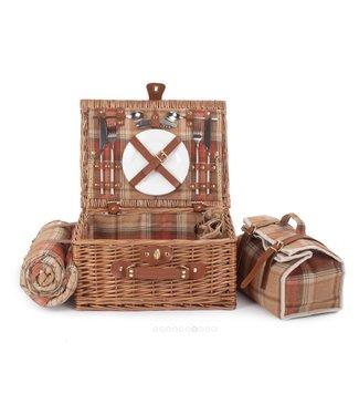 WomensFavorites Picknickmand 2 personen Zacht Oranje Tint - Met Koeltas en Servies - Inclusief Picknickkleed - 40 x 30 x 19cm