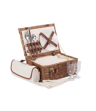 Picknickmand 4 personen Chocolate Elegant met Koelvak - Luxe donkere wilg- Topkwaliteit Picknickmand - Comfort met Picknickkleed Waterdicht - Servies en Picknickaccessoires - 41x 30 cm